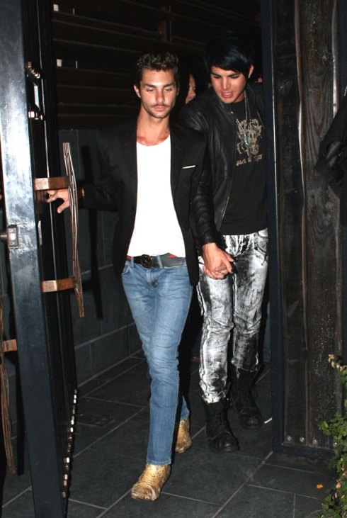 Adam Lambert (r) and galpal Drake leaving LA club recently