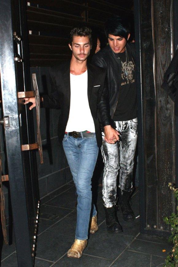 Adam Lambert (r) and galpal Drake leaving LA club recently