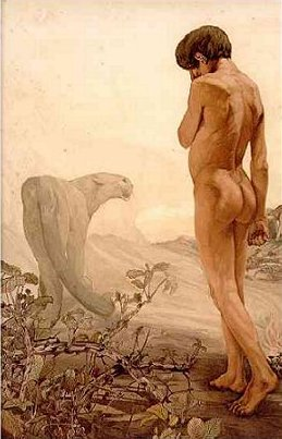 Mowgli and Bagheera, one of the Maurice & Edward Detmold illustrations from a 1903 edition of The Jungle Book