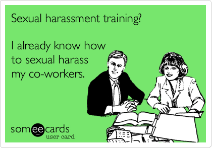 Sexual harassment training funny photos